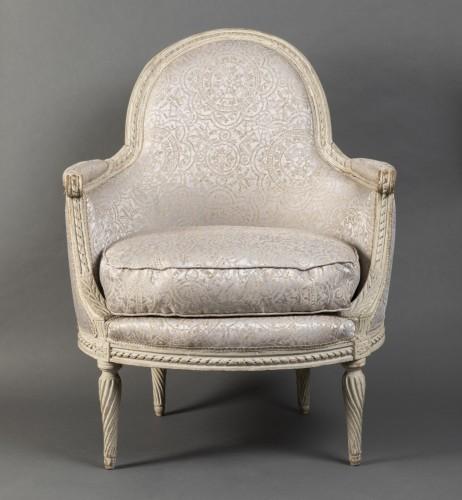 Pair of Louis XVI bergeres  Stamped Delanois - Seating Style Louis XVI