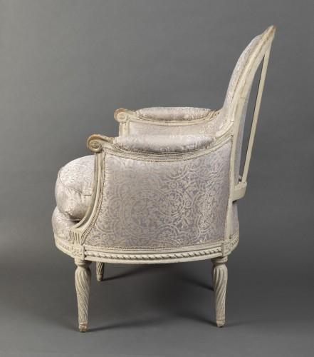 Pair of Louis XVI bergeres  Stamped Delanois -