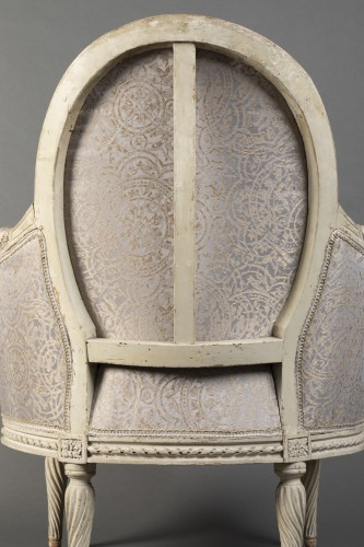Louis XVI - Pair of Louis XVI bergeres  Stamped Delanois