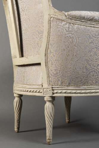 Antiquités - Pair of Louis XVI bergeres  Stamped Delanois