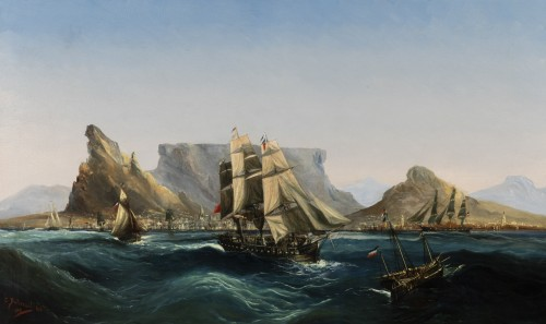 Marine - Table Bay by Chéri François Dubreuil (1828-1880) - Paintings & Drawings Style Napoléon III