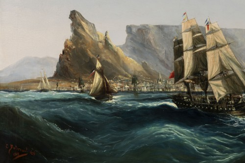 Marine - Table Bay by Chéri François Dubreuil (1828-1880) -