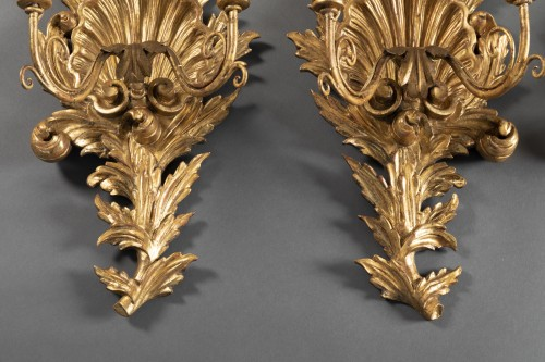 Louis XVI - Suite of 4 gilt wood sconces from the end of the 18th century.