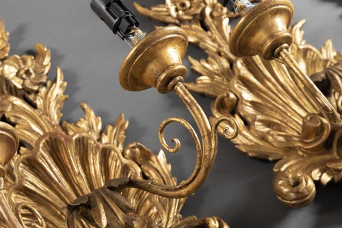 Antiquités - Suite of 4 gilt wood sconces from the end of the 18th century.