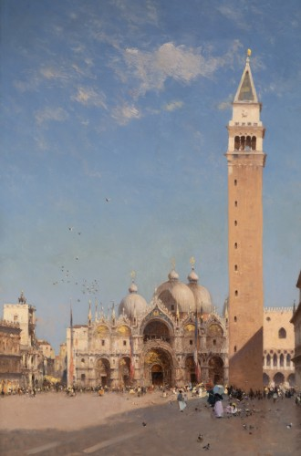 Amédée Rosier (1831 - 1898) Venice, Saint Mark's Square - Paintings & Drawings Style
