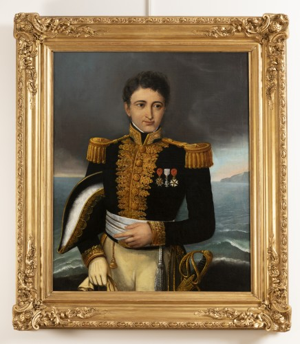 Portrait of a general officer - Restoration period Attributed to J.F Kinson - Paintings & Drawings Style Restauration - Charles X