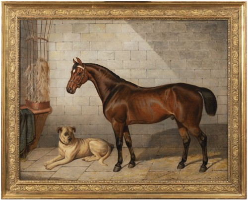 Horse accompanied by a Mastiff. E-J Keeling (act 1856-1873)