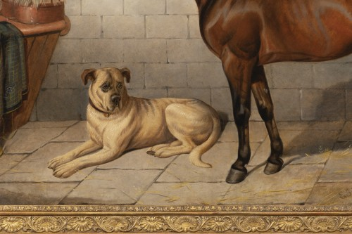 Horse accompanied by a Mastiff. E-J Keeling (act 1856-1873) - Paintings & Drawings Style