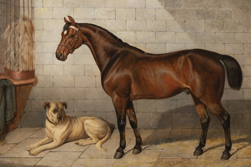 Paintings & Drawings  - Horse accompanied by a Mastiff. E-J Keeling (act 1856-1873)