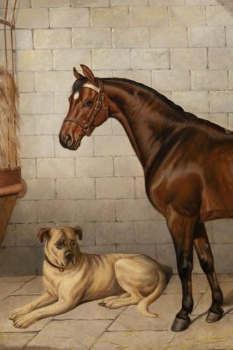 Horse accompanied by a Mastiff. E-J Keeling (act 1856-1873) -