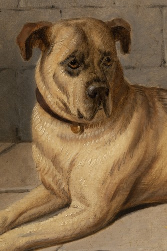 Antiquités - Horse accompanied by a Mastiff. E-J Keeling (act 1856-1873)