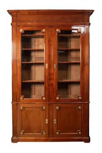 Mahogany bookcase, Louis XVI period - Stamped J.F Leleu