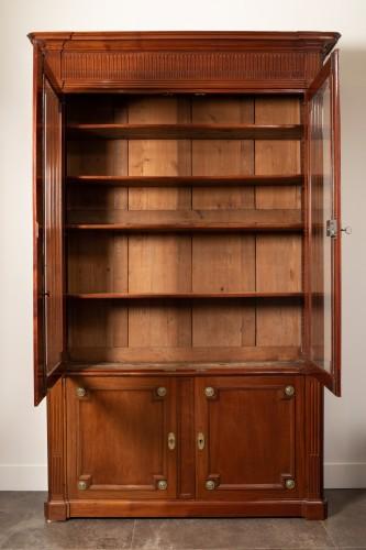 Antiquités - Mahogany bookcase, Louis XVI period - Stamped J.F Leleu