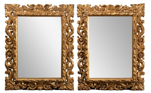 Pair of Italian mirrors in carved wood - 19th century
