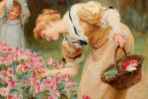 Paintings & Drawings  - Frederick MORGAN (1847-1927) - Picking tulips