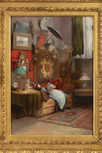 Hubert-Emile BELLYNCK (1849-?) - Reading the newspaper - Paintings & Drawings Style Napoléon III