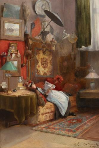 Paintings & Drawings  - Hubert-Emile BELLYNCK (1849-?) - Reading the newspaper