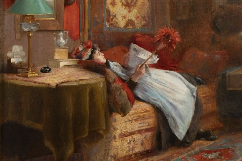 Hubert-Emile BELLYNCK (1849-?) - La lecture du journal - Galerie William Diximus