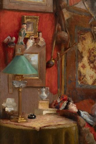19th century - Hubert-Emile BELLYNCK (1849-?) - Reading the newspaper