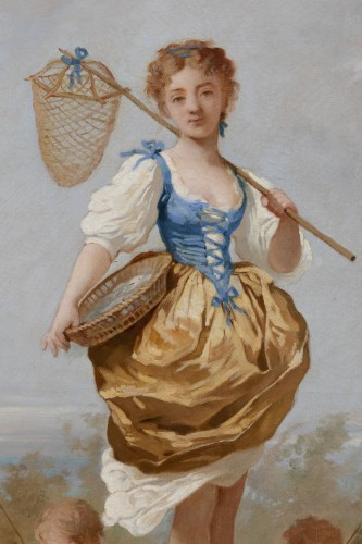Charles CHAPLIN (1825-1891) Young girl with a net -