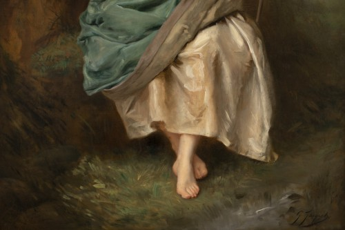 Gustave Jacquet (1846-1909) - Full-length portrait of a pretty peasant woman -