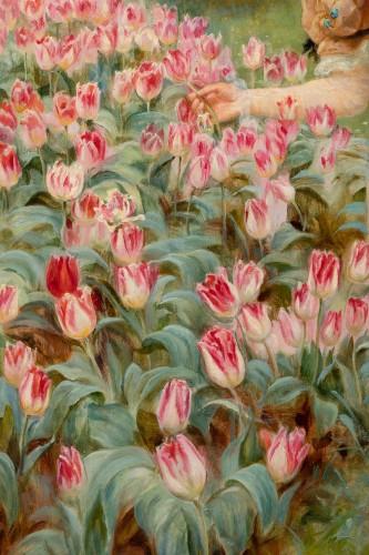 19th century - Frederick MORGAN (1847-1927) - Picking tulips