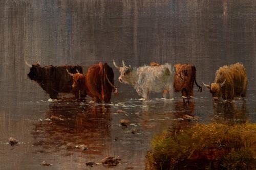 Antiquités - Alfred de Breanski (1821-1886) - Landscape of Scotland, Perthshire Valley.