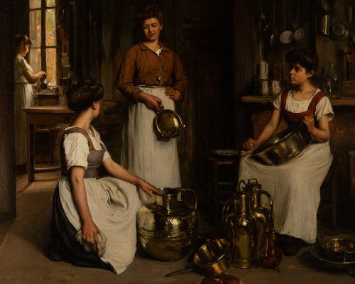 Paintings & Drawings  - Franck Antoine BAIL  (1858-1924)  - Cleaning the vessels
