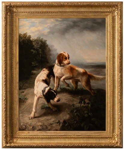 Louise Lalande (1834-1890) - Two dogs at the stop