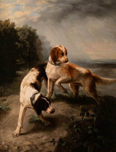 Louise Lalande (1834-1890) - Two dogs at the stop - Paintings & Drawings Style Napoléon III