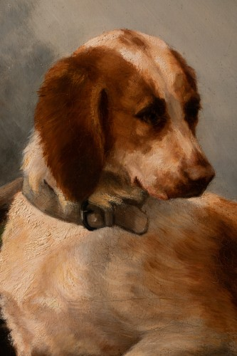 Paintings & Drawings  - Louise Lalande (1834-1890) - Two dogs at the stop