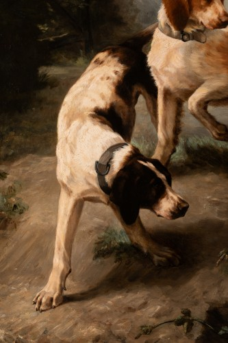Antiquités - Louise Lalande (1834-1890) - Two dogs at the stop