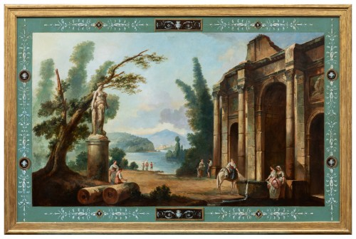 French School late 19th  - Lacustrine landscape with antique architecture