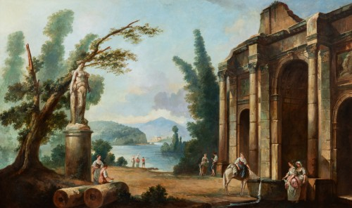 French School late 19th  - Lacustrine landscape with antique architecture - Paintings & Drawings Style Napoléon III