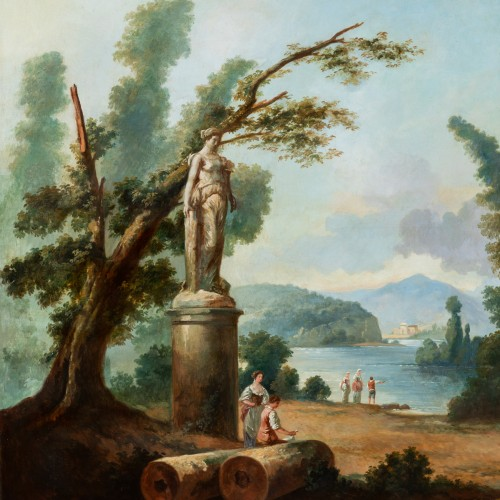 Paintings & Drawings  - French School late 19th  - Lacustrine landscape with antique architecture