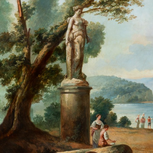 French School late 19th  - Lacustrine landscape with antique architecture -