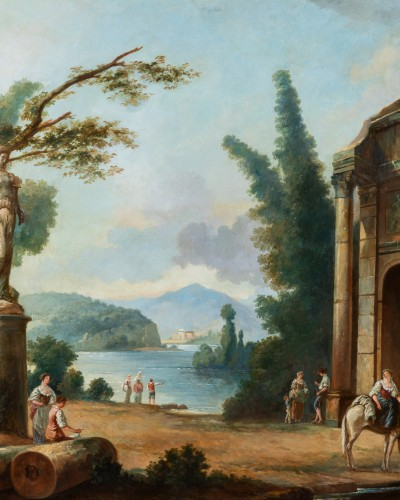 19th century - French School late 19th  - Lacustrine landscape with antique architecture