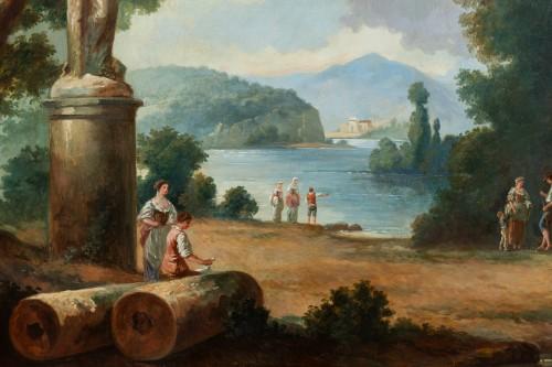Antiquités - French School late 19th  - Lacustrine landscape with antique architecture