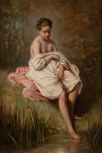 Charles CHAPLIN (1825-1891) the young girl in the bath - Paintings & Drawings Style Napoléon III