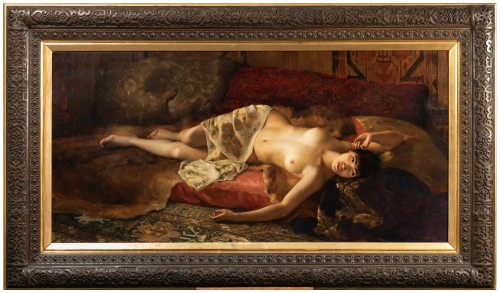 "Joseph Mousset (1850-1894) - Reclining young woman ""Lassata"""