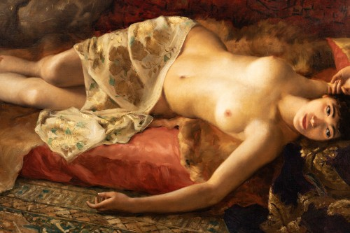"Paintings & Drawings  - Joseph Mousset (1850-1894) - Reclining young woman ""Lassata"""