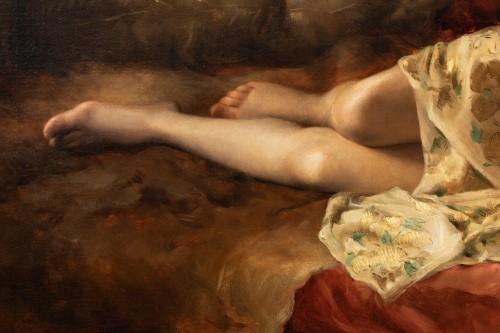 "Joseph Mousset (1850-1894) - Reclining young woman ""Lassata"" -"