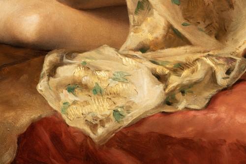 "Antiquités - Joseph Mousset (1850-1894) - Reclining young woman ""Lassata"""