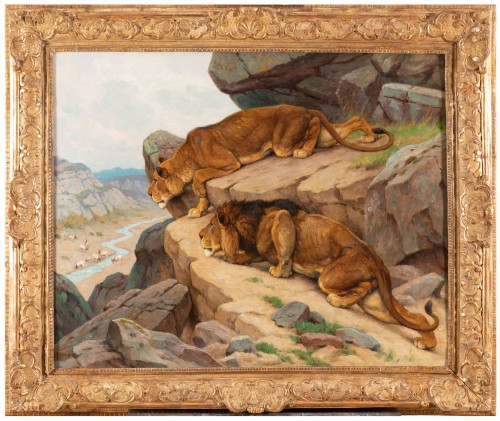 Georges-Frédéric Rötig (1873-1961) - Lion and lioness on the lookout