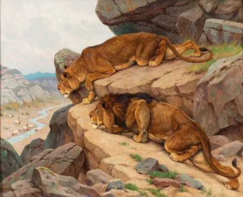 Georges-Frédéric Rötig (1873-1961) - Lion and lioness on the lookout - Paintings & Drawings Style