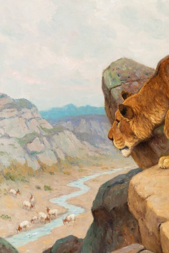 Paintings & Drawings  - Georges-Frédéric Rötig (1873-1961) - Lion and lioness on the lookout