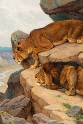 Georges-Frédéric Rötig (1873-1961) - Lion and lioness on the lookout -