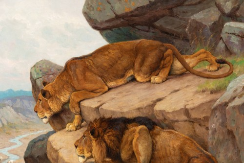 Antiquités - Georges-Frédéric Rötig (1873-1961) - Lion and lioness on the lookout