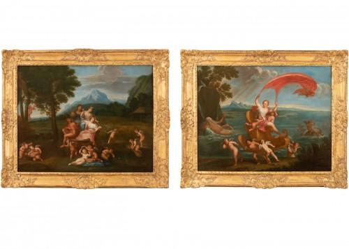 Pair of 18th century mythological scenes - Follower of Filippo LAURI