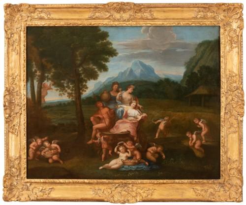 Antiquités - Pair of 18th century mythological scenes - Follower of Filippo LAURI